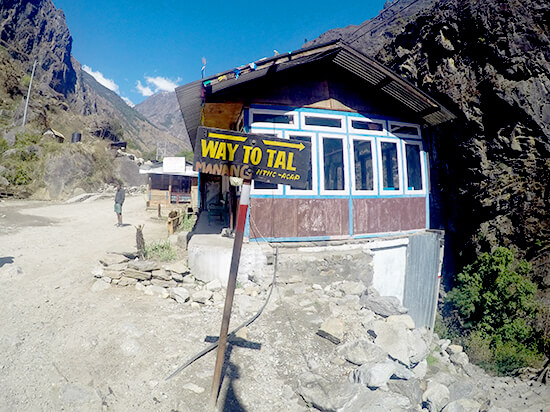 Manang Province Signs pointing Way to Tal