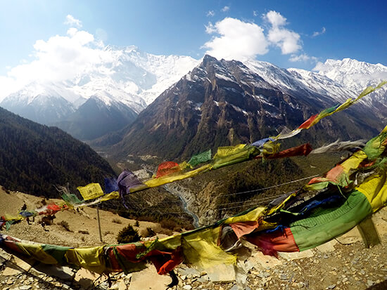 Nepal Prayer Flags at the Upper Pissang Viewpoint