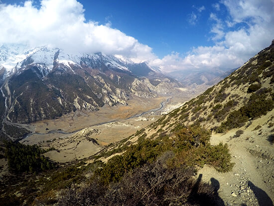 View from Ice Lake Trek in Manang
