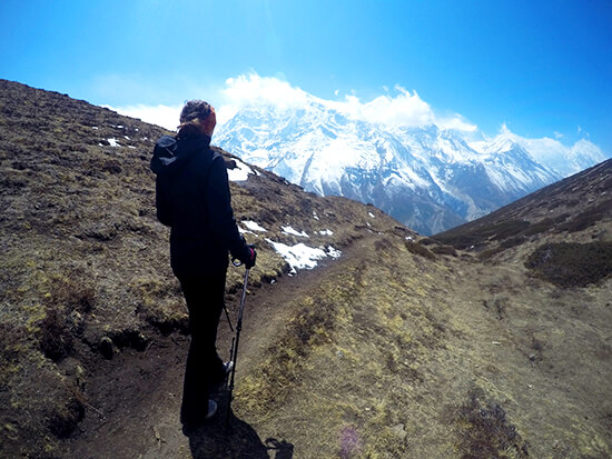 Looking at Annapurna Mountain Range on Ice Lake trek