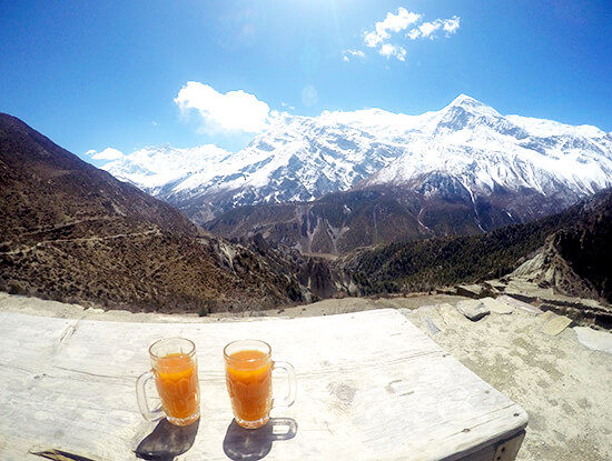 Seabuckthorn Juice with a view in Nepal