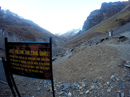 Trail Signs on Annapurna Circuit Trekking without a Guide