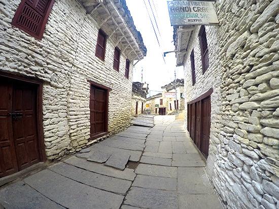 Marpa on Annapurna Circuit has beautiful white rock city walls