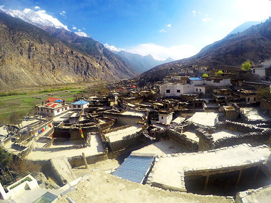 Beautiful city of Marpa on Annapurna Circuit