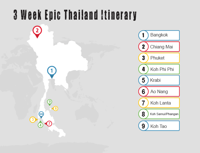 3 Week Epic Thailand Map Itinerary