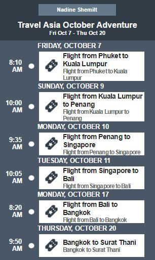 Trip Itinerary for AirAsia ASEAN Pass