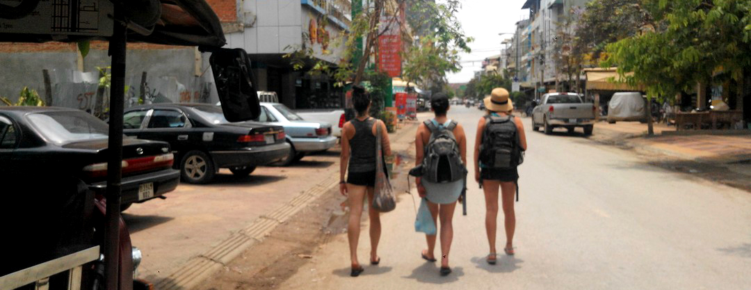 Walking down the quiet town of Battambang