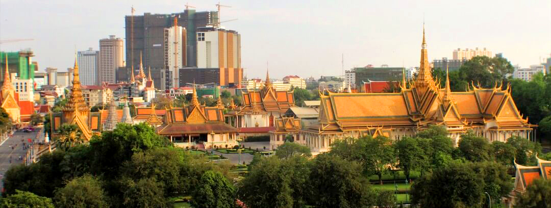 Cityscape View in Phnom Penh of Grand Palace