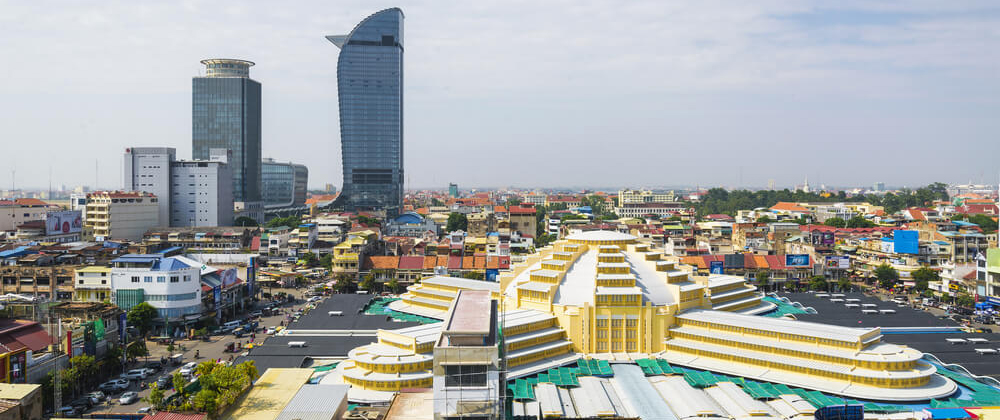 Arial View of Central Market in Phnom Penh
