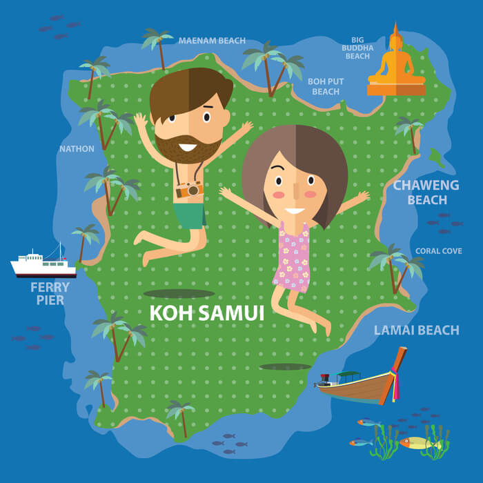 Koh Samui Map | Beach locations on Koh Samui Thailand
